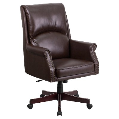 High Back Pillow Back Brown Leather Executive Swivel Office Chair   Flash  Furniture