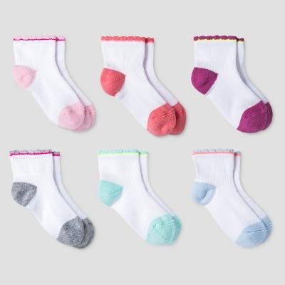 Toddler Girls' Athletic Scalloped Low Cut Socks 6pk - Cat & Jack™ Orange/Pink