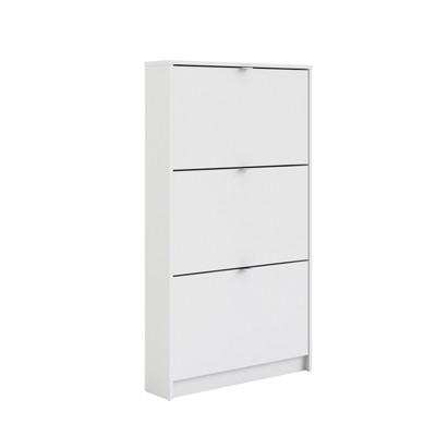 Wood Bright 3 Drawer Shoe Cabinet In White Tvilum
