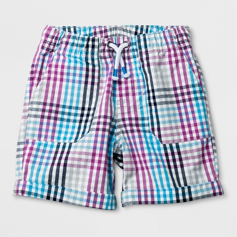 Toddler Boys' Pull-On Shorts - Cat & Jack™ Blue/Purple Plaid - image 1 of 2