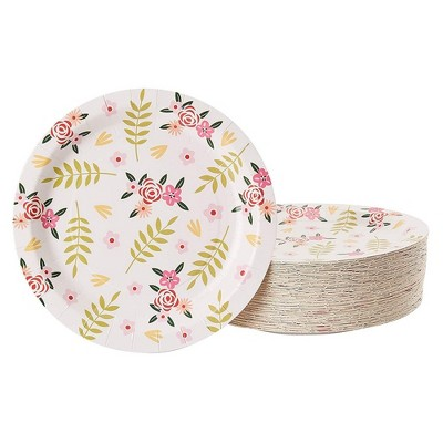 """Juvale 80-Pack Floral Flowers Disposable Paper Plates 9"""" Weddings Bridal Shower Party Supplies"""