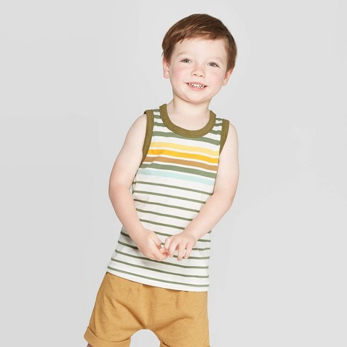 Toddler Boys' Jersey Retro Stripe Tank - Cat & Jack™ Bright Olive - image 1 of 3