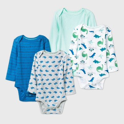 Baby Boys' 4pk Dino Dreams Long Sleeve Bodysuit - Cloud Island™ Blue/Green/Gray