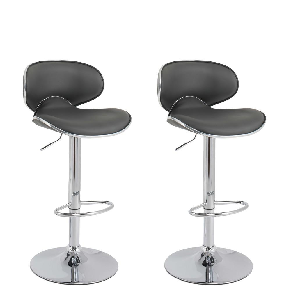 Curved Form Fitting Adjustable Bonded Leather Barstool Dark Grey Set of 2 - CorLiving, Dark Gray