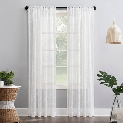 Delia Embroidered Floral Sheer Rod Pocket Curtain Panel - No. 918