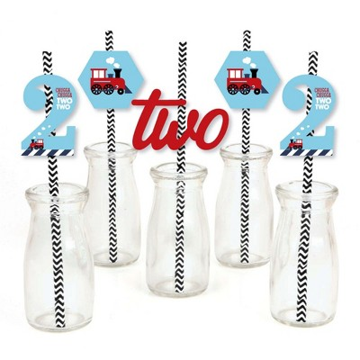 Big Dot of Happiness 2nd Birthday Railroad Party Crossing - Paper Straw Decor - Steam Train Second Birthday Party Striped Decorative Straws -Set of 24