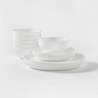 Glass 18pc Dinnerware Set White - Made By Design™