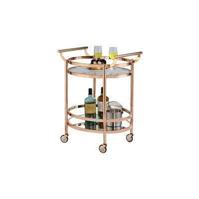 Oval Metal Serving Cart Clear Glass & Copper - Benzara