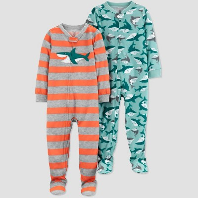 Baby Boys' 2pk Shark Footed Pajama - Just One You® made by carter's Gray/Orange/Blue