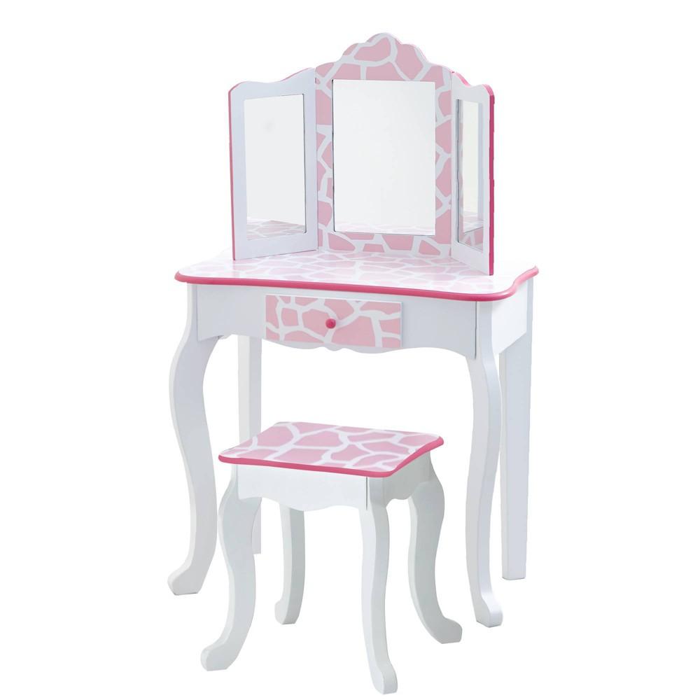 Image of Giraffe Fashion Prints Vanity Table & Stool Set Pink - Teamson Kids