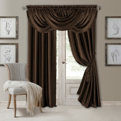 Versailles Faux Silk Room Darkening Window Curtain Panel - Elrene Home Fashions