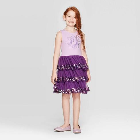 Girls' Frozen 2 Layered Dress - Purple - image 1 of 3