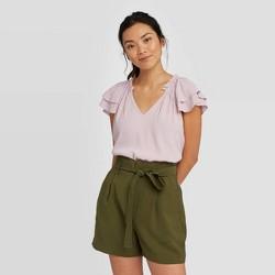 Women's Flutter Short Sleeve Blouse - A New Day™