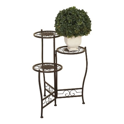 """24"""" Modern Metal Novelty Plant Stand Brown - Olivia & May"""