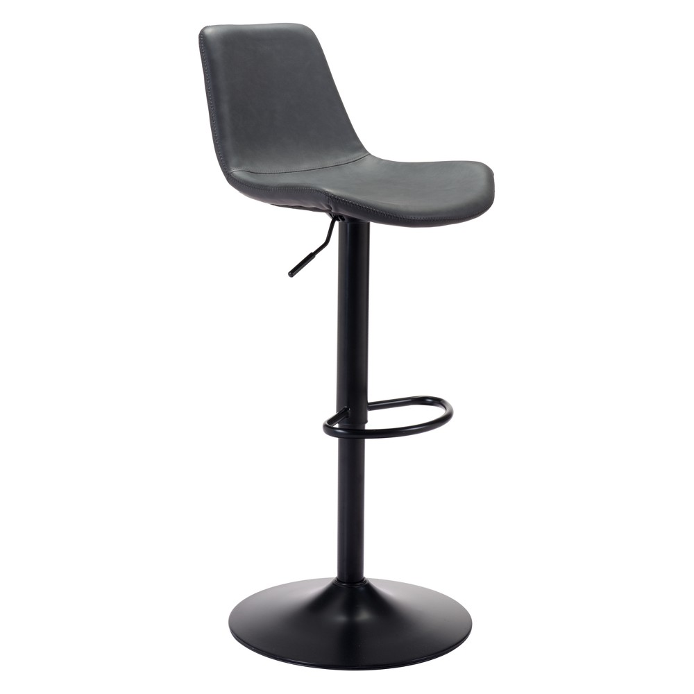 Industrial Faux Leather 24 Adjustable Bar Chair Vintage Dark Gray - ZM Home