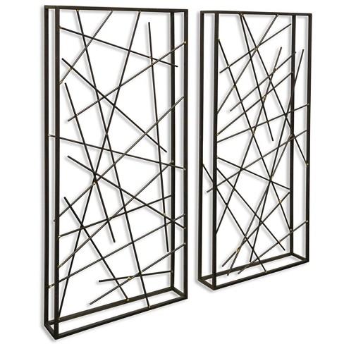 15 8 2pc Contemporary Metal Decorative Wall Art Black Stylecraft