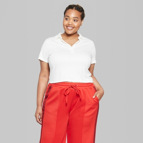 c2a05748d482b Women s Plus Size Short Sleeve Cropped Polo Shirt - Wild Fable™ White 2X    Target