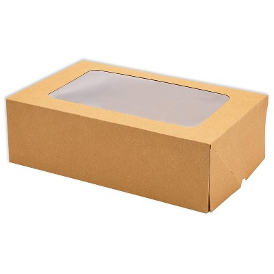 """Juvale 24-Pack Kraft Paper Cupcake Carrier Box, Pastry Box Take Out Containers with 6-Inserts & Window, 9.4x6.25""""x2.95"""", Brown"""