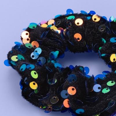 Girls' Velvet Sequin Twister Hair Tie - More Than Magic™ Black