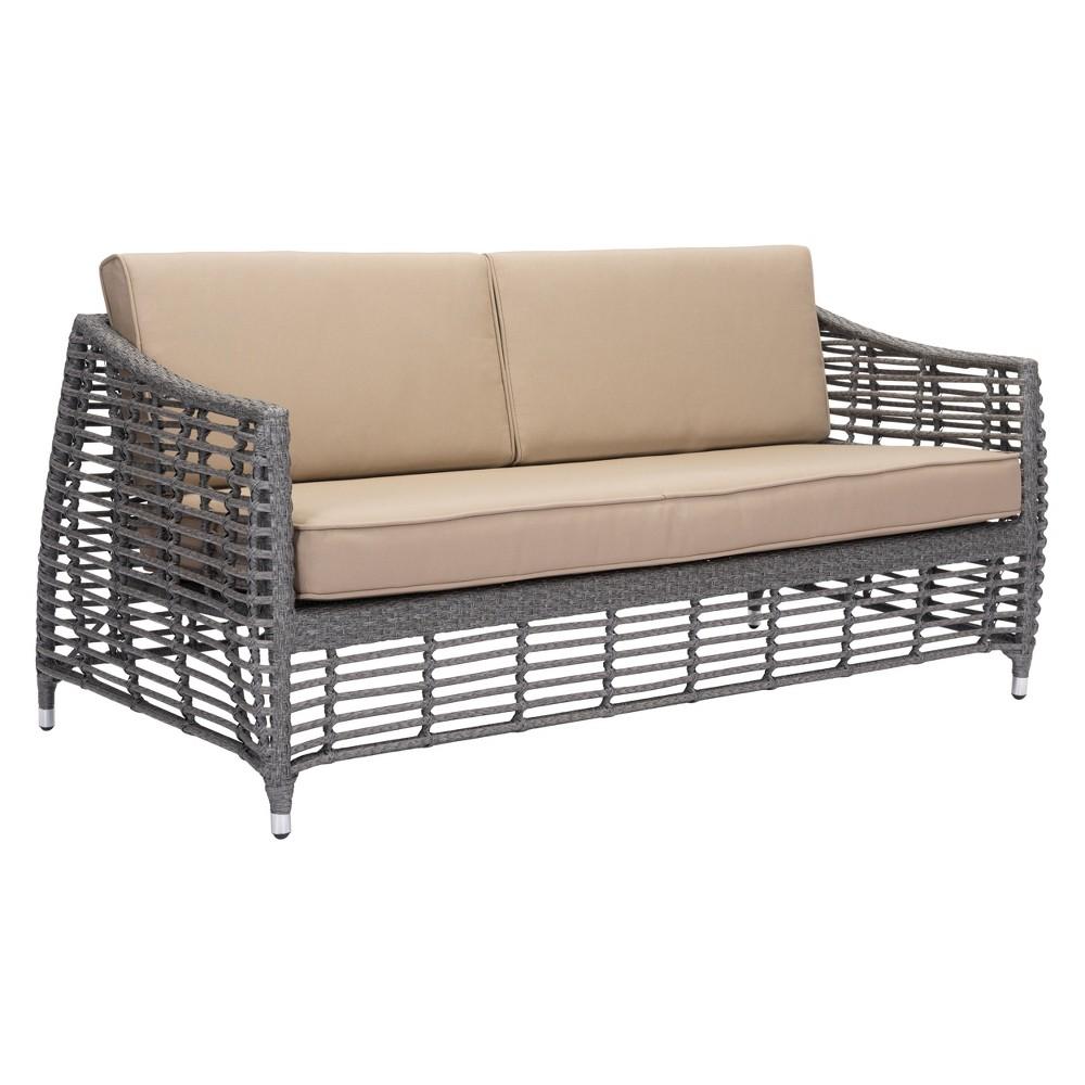 67.5 Modern Open Weave Sofa Gray/Beige - ZM Home