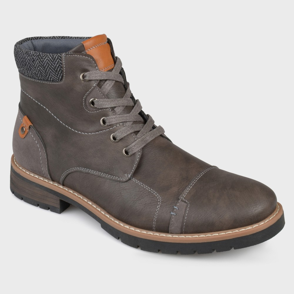 Men's Vance Co. Manzo Faux Leather Lace-UP Boots - Grey 7.5, Gray
