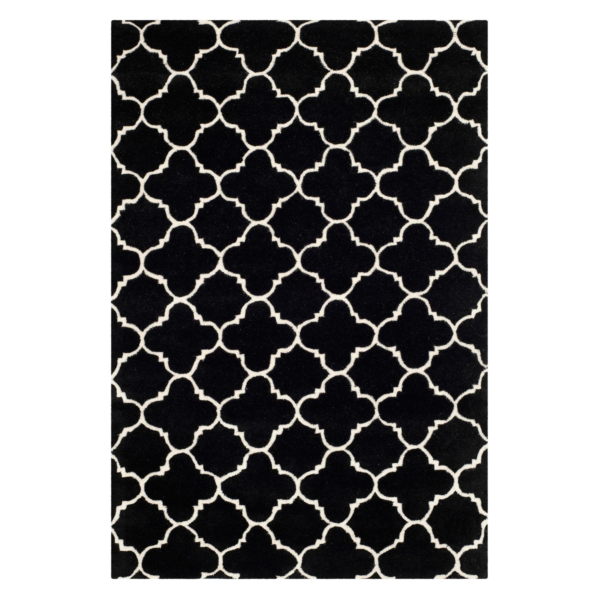 4'X6' Quatrefoil Design Tufted Area Rug Black/Ivory - Safavieh