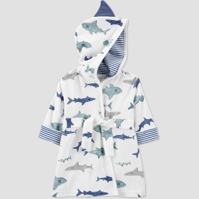 Baby Boys' Shark Bath Robe - Just One You® made by carter's White/Blue