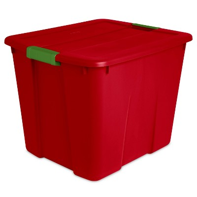 Sterilite 20gal Latching Tote Red with Green Latch