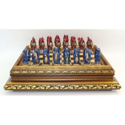 """3.25"""" Red vs Blue Dragon Chessmen on Golden Wood Veneer Chest Board Game"""