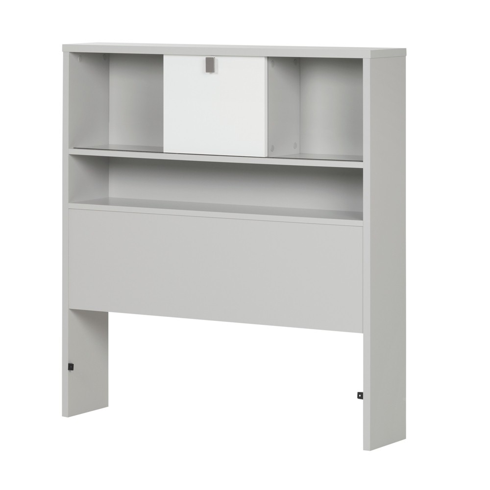 Image of Cookie Bookcase Headboard Twin Soft Gray And Pure White - South Shore, Gray White
