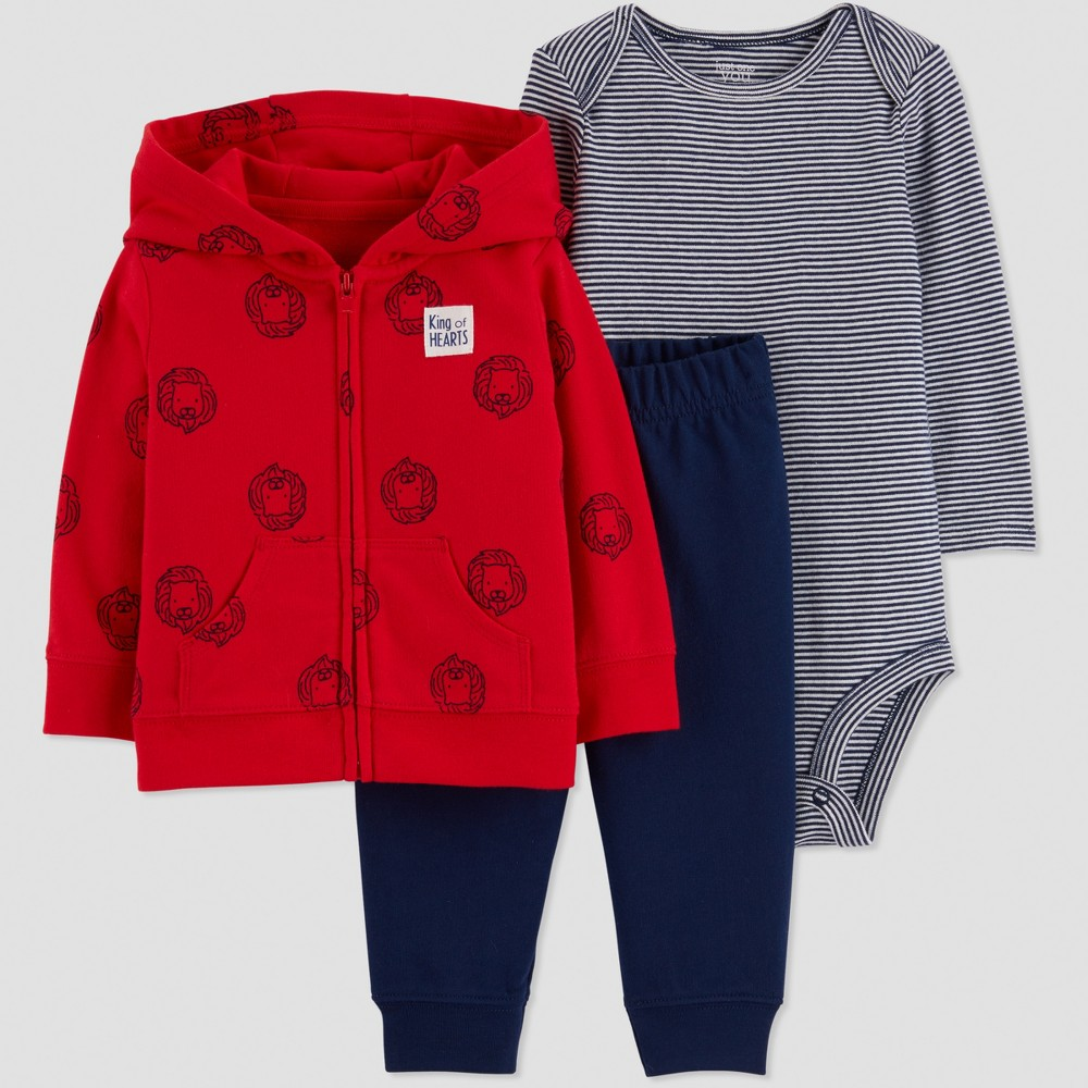Baby Boys' 3pc Lions French Terry Cardigan Set - Red/Navy Blue 24M