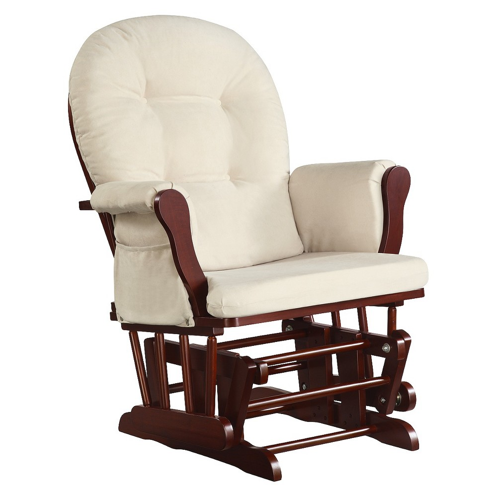 Dorel Rocker Glider, Red, Accent Chairs Cherish a quiet moment with your baby in this timeless, wooden glider rocker chair by Dorel Asia. With medium cherry wood and light-colored cushions, the piece fits into any nursery décor. Overstuffed cushions and smooth-gliding rocker provide a comfortable, quiet place for mom and baby. Gender: Unisex. Pattern: Solid.