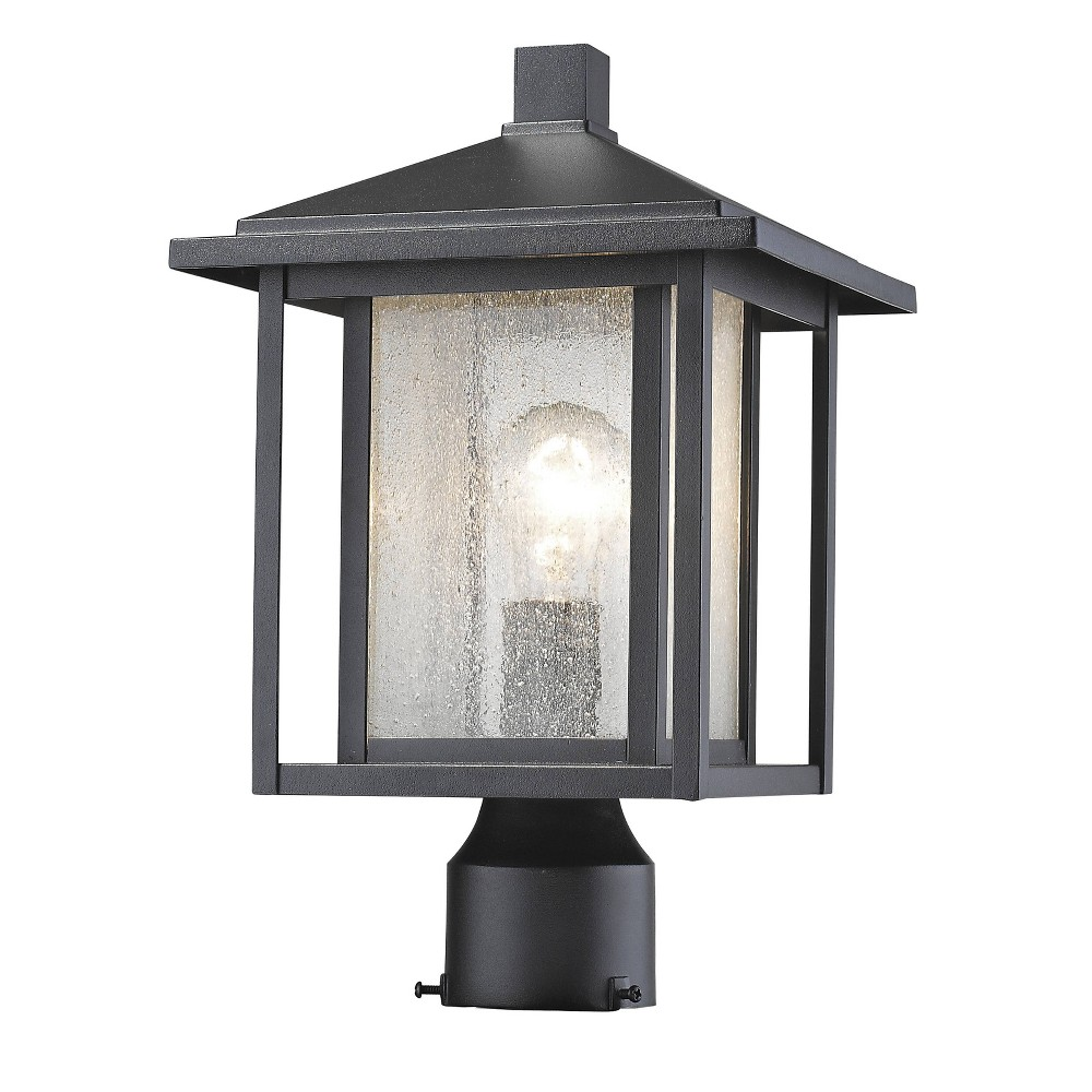 1 Light Outdoor Wall Mount Sconce Black With Clear Seedy Glass Aurora Lighting