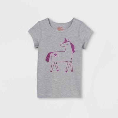 Toddler Girls' Adaptive Unicorn Short Sleeve Graphic T-Shirt - Cat & Jack™ Heather Gray
