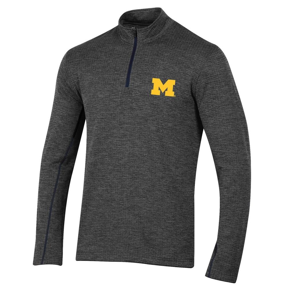 Michigan Wolverines Men's Long Sleeve Digital Textured 1/4 Zip Fleece - Gray M