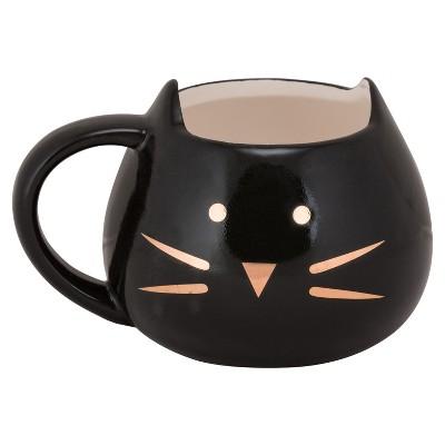 10 Strawberry Street Stoneware Cat Face Mug 12oz Black/Gold - Set of 4