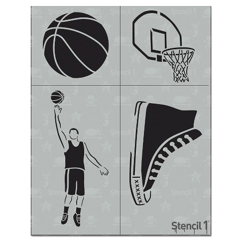 "Stencil1® Basketball Multipack 4ct - Stencil 8.5"" x 11"" - image 1 of 3"
