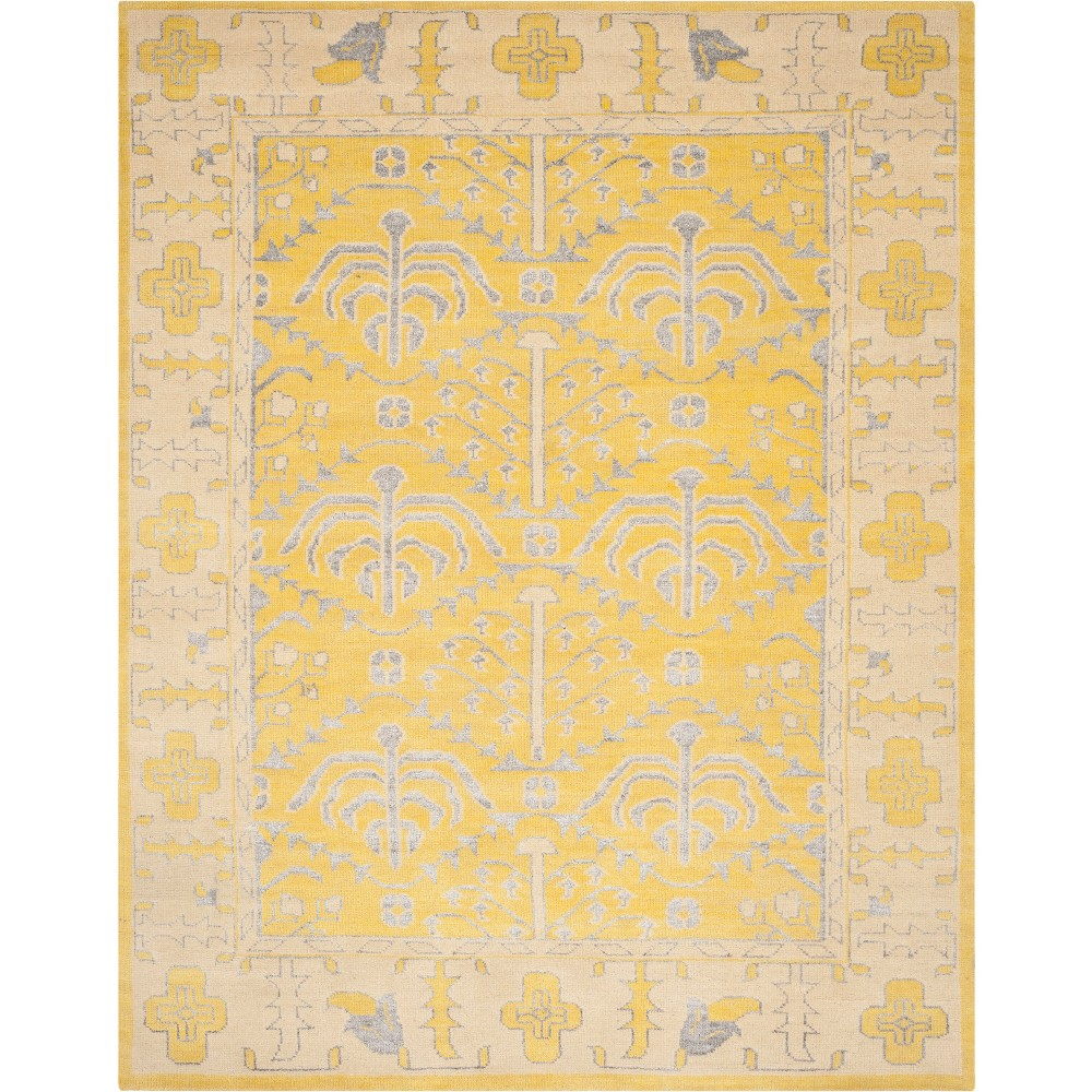 9'X12' Medallion Knotted Area Rug Light Gray - Safavieh, Yellow