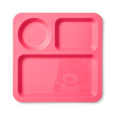 Square Plastic Divided Kids Plate 9.5  Pink - Pillowfort™