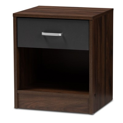 Hansel 1 Drawer and Finished Nightstand Brown/Gray - Baxton Studio