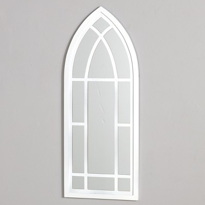 Lakeside Wall Hanging Cathedral Style Mirror with Window Frame Look