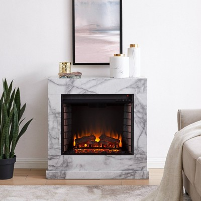 Dridun Faux Marble Fireplace White/Gray - Aiden Lane