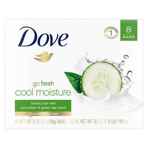 Dove Cool Moisture Beauty Bar Soap Cucumber & Green Tea - 3.75oz/8ct - image 1 of 4