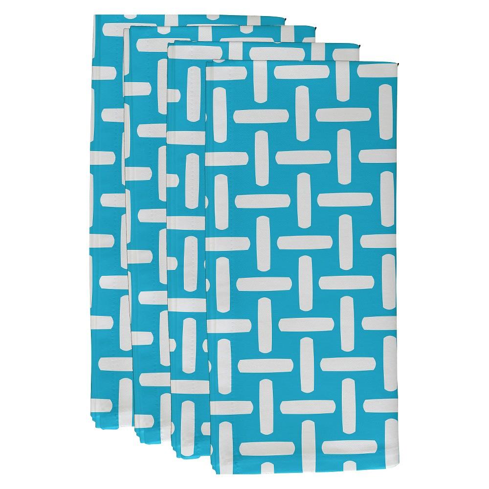"Image of ""Turquoise Geometric Throw Napkin Set (19""""X19"""") - E By Design"""