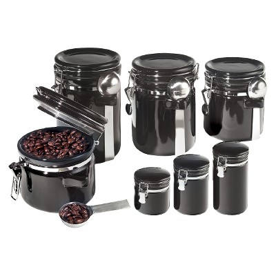 Oggi 7 Piece Round Ceramic Canister Set with Spoons - Black