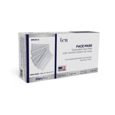 ICU Health Non-Medical Disposable Face Mask with Comfort Stretch Ear Loops – White - 20ct