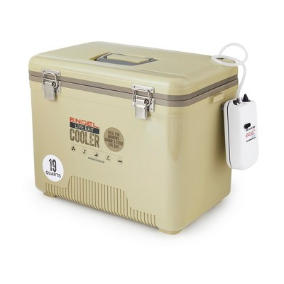 Engel 19 Quart Portable Insulated Live Bait Fishing Dry Box 32 Can Hard Airtight Cooler with Water Speed Aerator Pump and Removable Pull Net, Tan