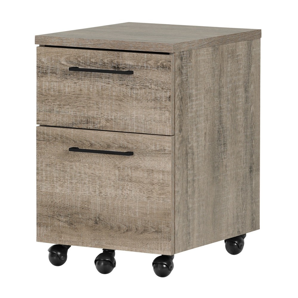 Image of Munich 2 - Drawer Mobile File Cabinet - Weathered Oak - South Shore, Brown
