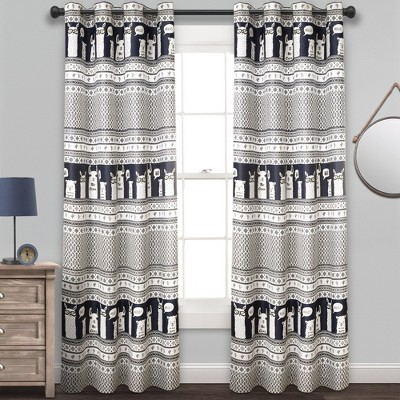 "52""x84"" Set of 2 Llama Striped Room Darkening Curtain Panels - Lush Décor"