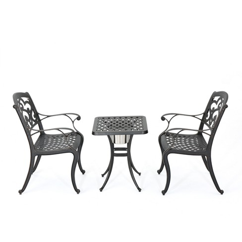Alexa 3pc Cast Aluminum Bistro Set - Shiny Copper - Christopher Knight Home - image 1 of 4